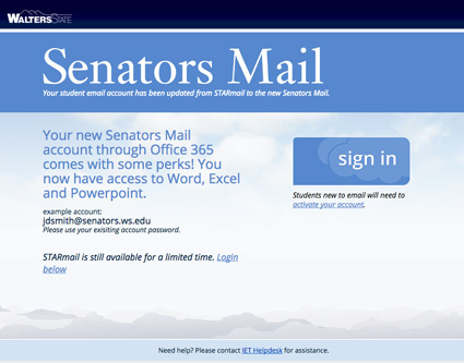 Senators.ws.edu web page